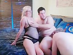 Older German bisexual couple entertain younger bi Chub