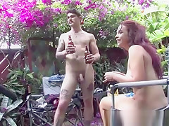 Australian couple relaxing nude at home after sex