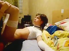 Russian woman pegging teen boy