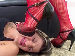 Mistress Lola tramples with heels and bare feet in slave girl 1