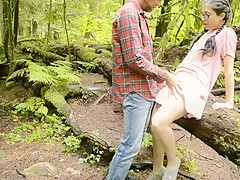 Guy follows lost jogger and fucks her in the woods