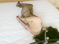 Sexy Woman Tied Up With Kub And Helplessly Chained To Bed (part 2/2)