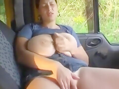 I fucked lonely and busty MILF in the car