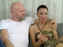 Great Polish bald babe gangbang