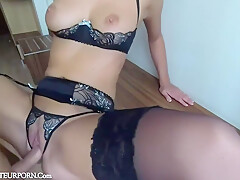 Fucking His Hot Girlfriend Wearing Black Lingerie