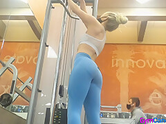 Gym Candid Blonde in Blue Leggings
