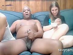 Black Grandpa Fucks Two Young Girls On Webcam