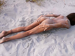 Amateur Nudist Teen Fucks Her Tight Pussy With A Huge Cucumber On A Public Beach. Ends With A Pee