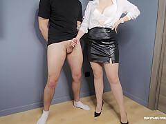 Office Secretary In Pantyhose And High Heels Handjob On Her Legs