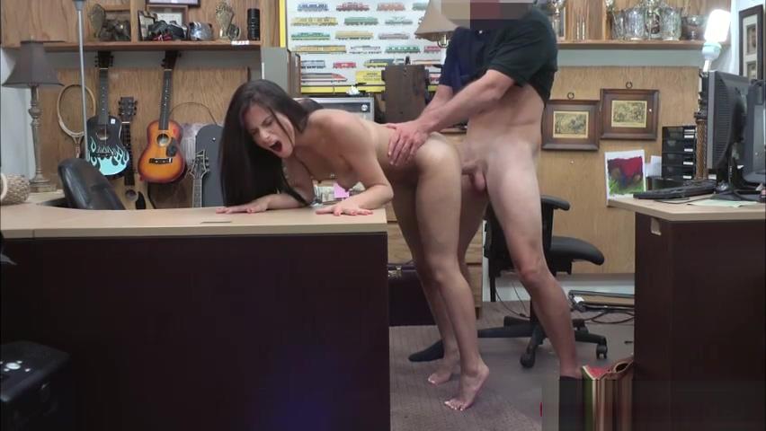 Brunette Alexis Deen deepthroats Shawns dick for cash