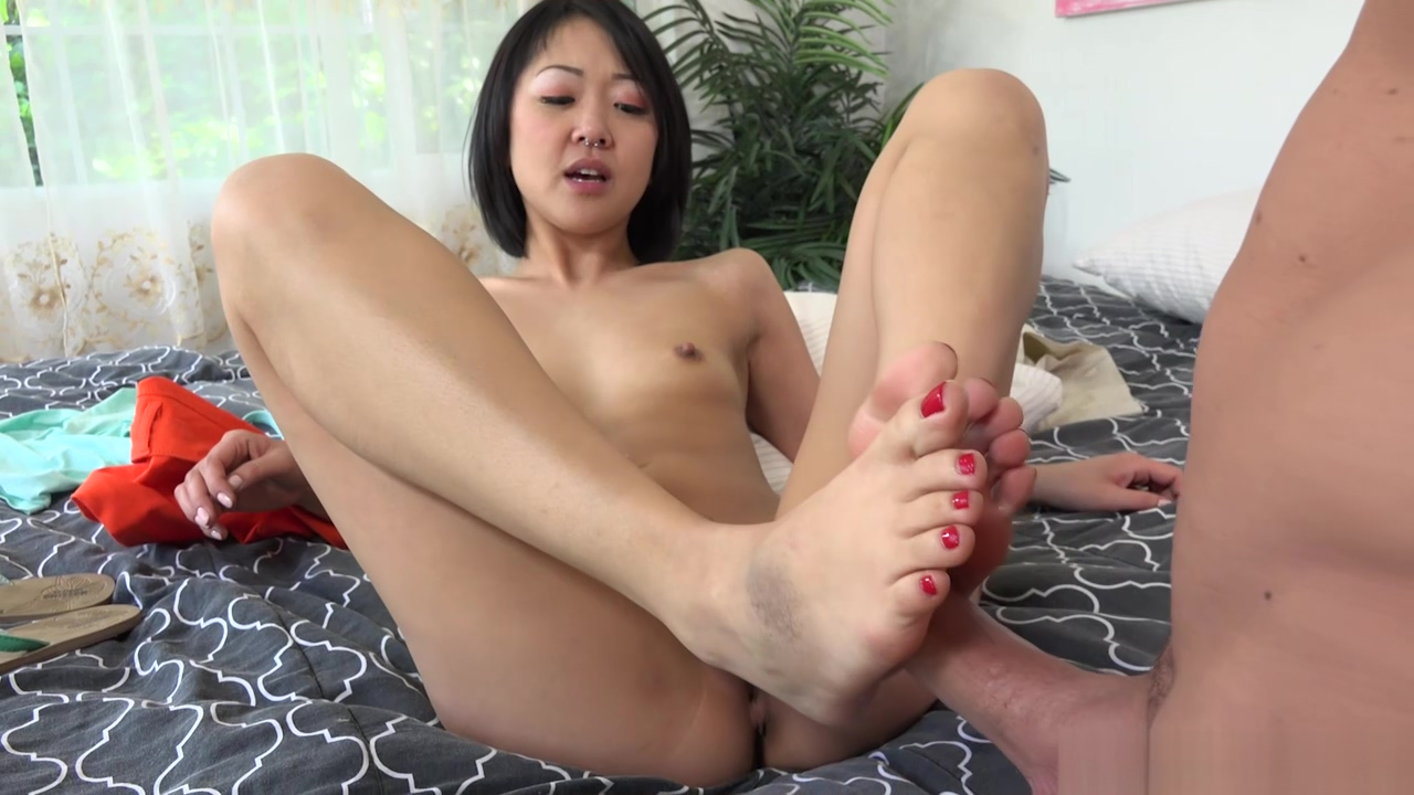 Tiny Saya Song got her sexy feet, mouth and tight pussy dicked by a bald dude