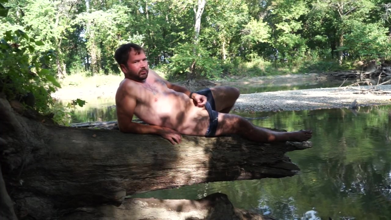 Masturbating outside on a log by a creek - summer day - almost caught
